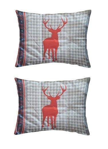Maki %100 Pamuklu 2 Adet 50x70 Yastık Kılıfı Kırmızı Geyikli Renkli